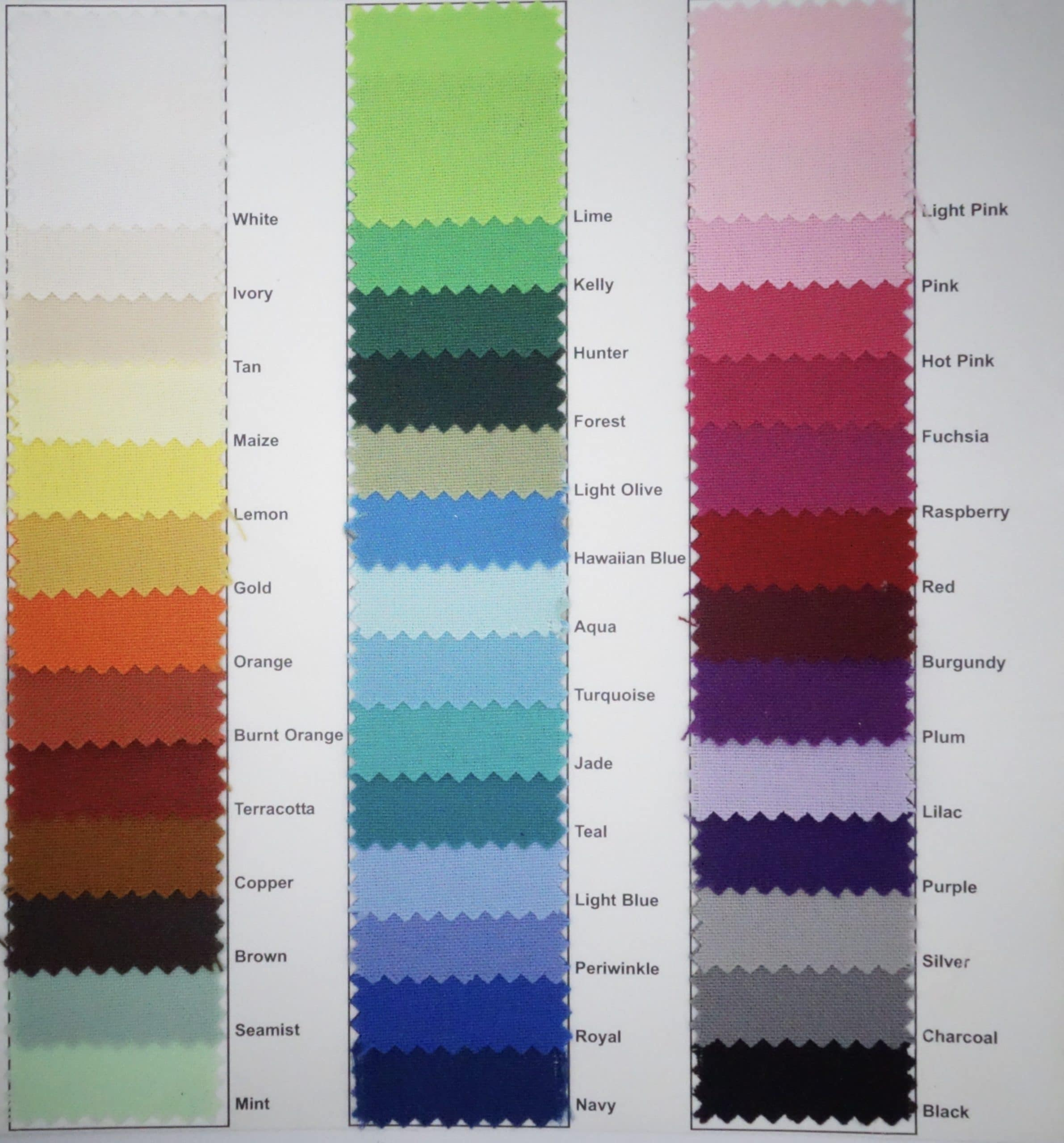 LINEN COLOR SAMPLES